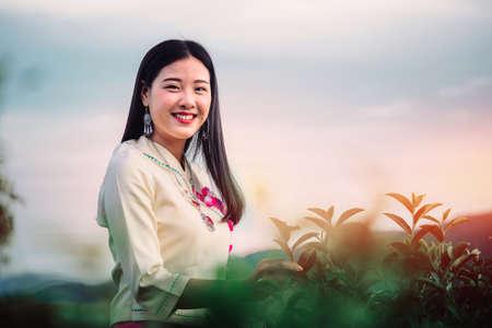 women and friend in tea farm chiang rai thailand asia
