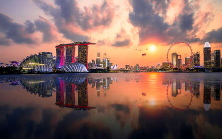 Marina bay sand and Downtown with Singapore flyer Twilight time view from garden by the bay in holiday 2019 Singapore city Editorial
