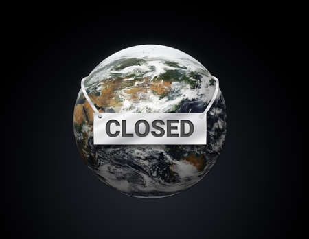 the world is closed, save the world concept, 3d Illustration,   store,club and business in city are closed 版權商用圖片
