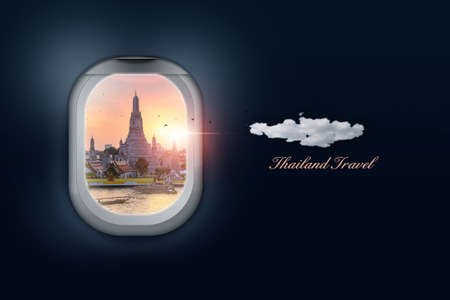 3d rendering, Thailand travel concept, top view on airplane windows