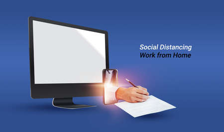 Social distancing concept, 3d rendering, Businessman Work from home Stay sign document connected with technology and internet online social media during the COVID-19 virus, mockup desktop computer