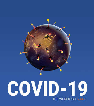 World is virus, 3d Illustration, Coronavirus Covid-19 concept Design for ads banner, blue earth fever on white background, the globe is sick, Protect by Social distancing