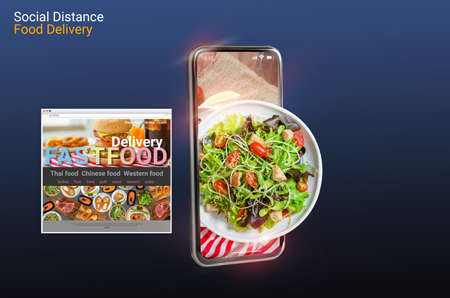 3d rendering, social distance concept, work from home, people ordering food online Website Via mobilephone application Restaurant selling fast food delivery to home lunch and dinner During covid-19.