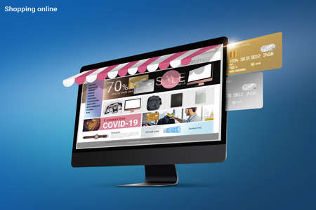 3d illustration, website e-commerce sme business shopping online in website on desktop computer pay by credit card design for banner during covid-19. credit card and computer on blue background