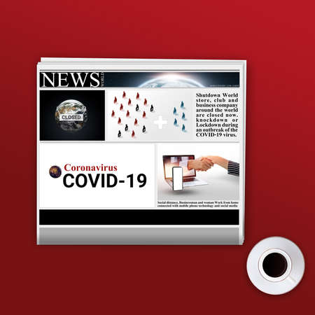 Newspaper and coffee cup 3d illustration design for banner. the world is closed during COVID-19. mockup white newspaper on red background