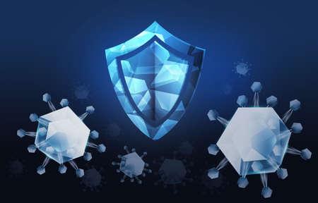 3d illustration. antivirus protection concept. Anti-virus Symbol and Covid-19 symbol 3d, modern digital design on a black and blue background design for banner cover Reklamní fotografie