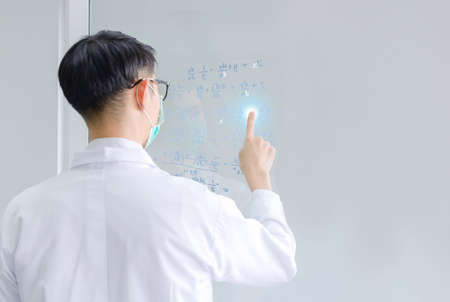mathematicians concept. Handsome man thinking on white background, graphic image idea, man mathematicians are calculating with glass board in a financial company