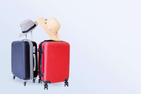 baggage for man and girl on white background