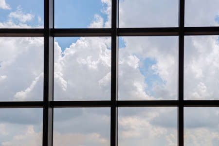 Clouds in the daytime Look through the working window, an empty space for additional text.