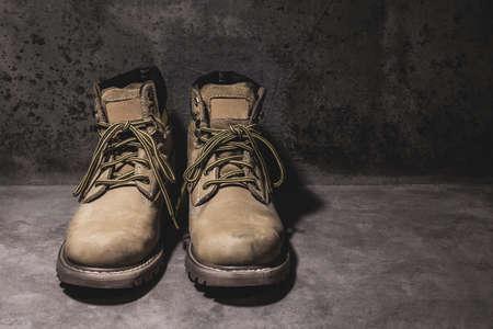 steel toe boots: still life working hard boots Stock Photo