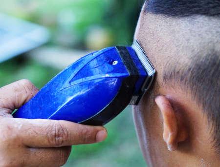 barbershop: hair cutting children Stock Photo