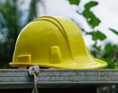 Yellow worker helmet for safety first