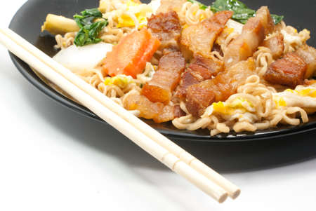 Fired noodle and chopsticks Stock Photo - 17588854
