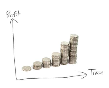 gold bar earn: Financial success concept - graph with coins  Stock Photo