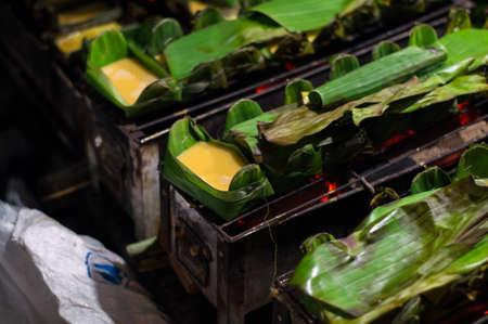 joist: Kai-Pam, Grilled seasoned Egg in joist banana leaves, thai
