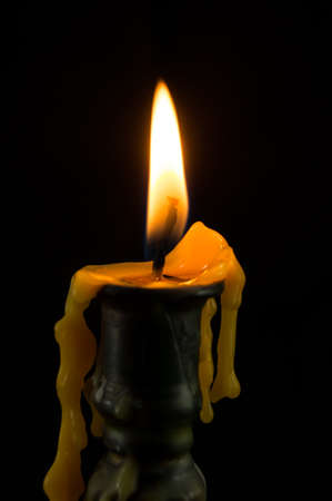 brass candlestick on black  background Stock Photo