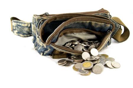 waist: Waist bag with thai coins on white background Stock Photo