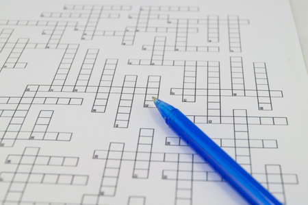 Crossword puzzle with blue pen