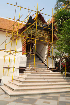 the Buddhism temple in renovation, Chiangmai Thailand photo