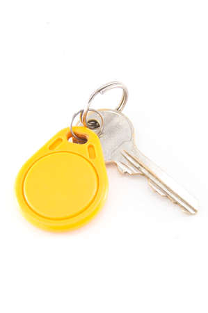 doorkey: Key card e chiave isolato sfondo bianco Archivio Fotografico