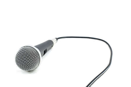 amplify: Microphone with cable isolated on white