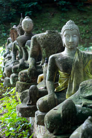 Old broken buddha statue in abandon temple photo