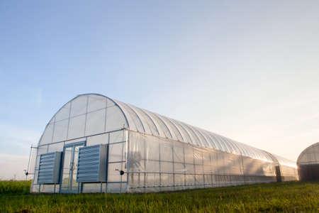 푸른 하늘 새로운 온실 스톡 콘텐츠