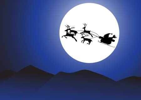 santa sleigh: Vector : Christmas background santa and moon. Illustration
