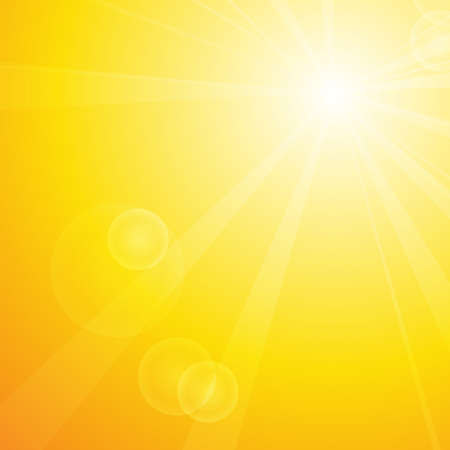 Vector : Summer background with sun and lens flare  イラスト・ベクター素材