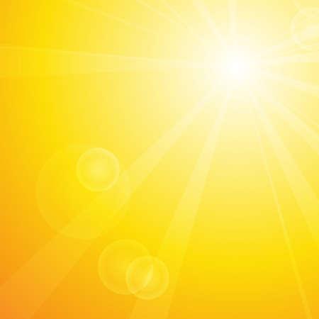 벡터 : 여름 배경과 태양 및 렌즈 플레어 일러스트