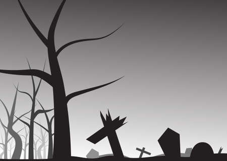leafless: Vector Grave and leafless tree halloween background