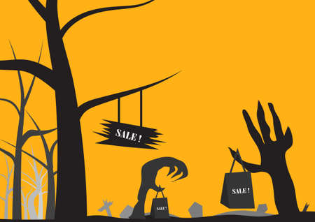 Vector : Sale concept in halloween background Illustration