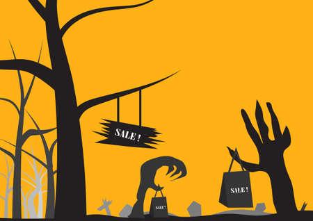 Vector : Sale concept in halloween background Illustration