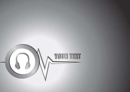 logo music: Vector : Headphone and music graph background Illustration