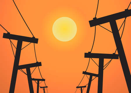 electricity pole: Vector : Silhouette electricity post before sunset