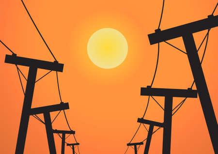 electricidad: Vector: Silueta puesto de electricidad antes del atardecer