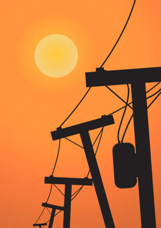 electricity post: Vector : Silhouette electricity post before sunset