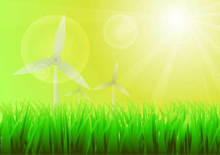 green power:  Wind power and green grass background Illustration