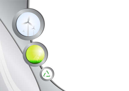 abstract mill: Windmill, green grass and recycling icon background Illustration