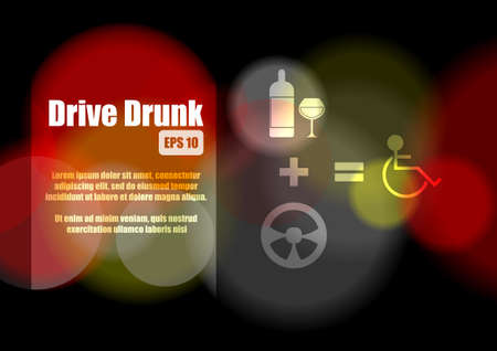 drunk driving: Drive drink concept abstract background Illustration