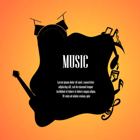 Music notes guitar and drum set with space for text background