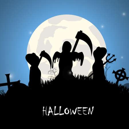 scythe: La sombra de la muerte con guadaña Fondo de Halloween Vectores