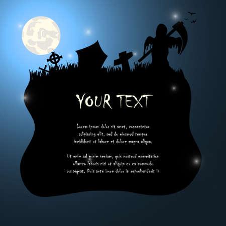 guada�a: La sombra de la muerte con guada�a Fondo de Halloween Vectores