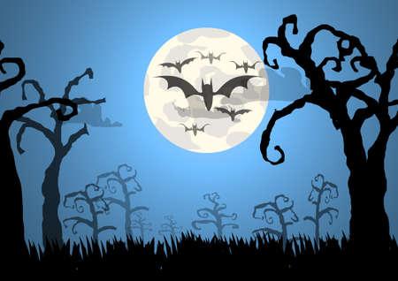 Trees and bats Halloween background Çizim