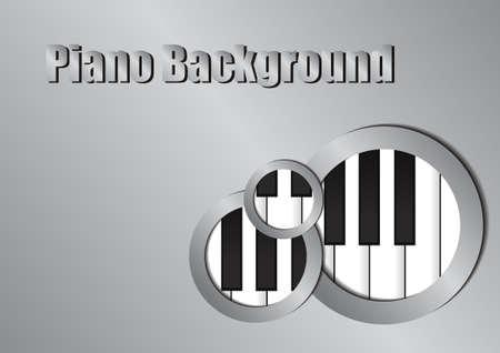 silver circle: Vector : Piano and silver circle background