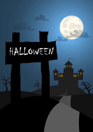necropolis: Vector : Halloween background with wood sign and castle background