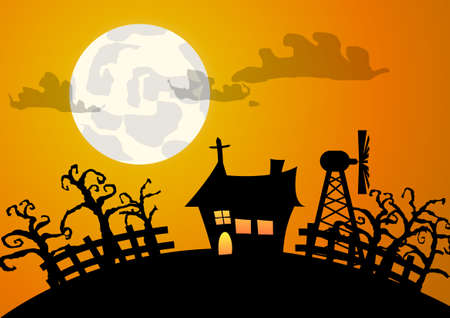 Vector : House and tree halloween background