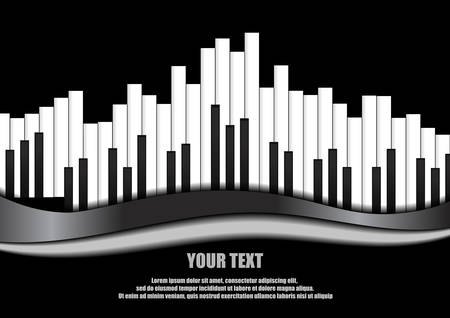 Vector : Piano equalizer on black background  イラスト・ベクター素材