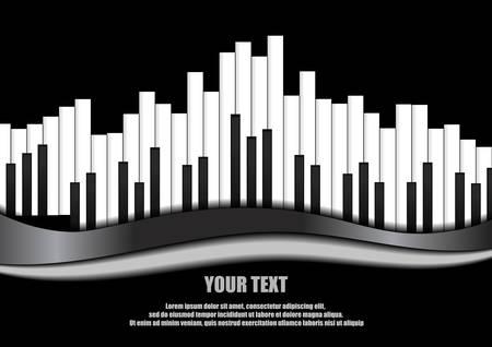 keyboard keys: Vector : Piano equalizer on black background Illustration