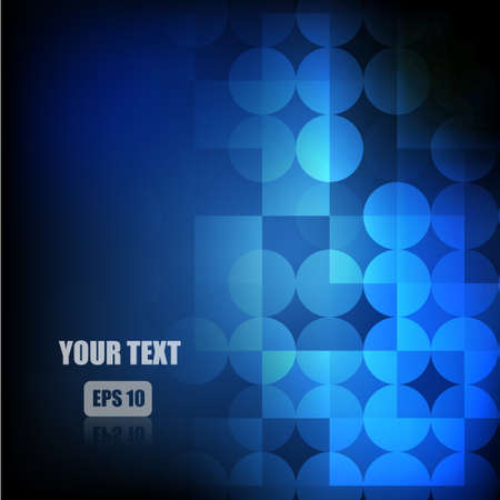 Vector : Abstract circle and square blue background